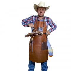 Avental churrasqueiro couro caramelo com tabaco