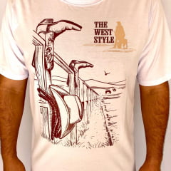 Camiseta Estilo Cowboy branca The West Style